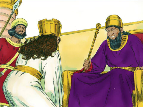 'What is your request?' he asked. 'Even if you ask for up to half the Kingdom I will give it to you.' I would like to invite the King and Haman to a special banquet I have prepared,' Esther replied. – Slide 9