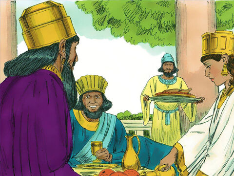 So the King and Haman went to the banquet Esther had prepared. 'What is your request?' the king asked. – Slide 10