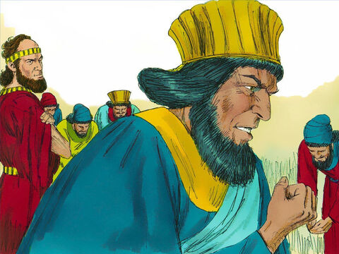 Haman left the palace in a good mood but when he saw that Mordecai had not bowed or shown him respect he was full of rage. – Slide 12