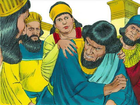 Haman went to his friends and Zeresh his wife and boasted to them about his great wealth, his many sons and the ways the King had honoured him. 'I have been invited to a banquet by the King and queen tomorrow. But I cannot be happy while Mordecai the Jew is sitting at the King's gate.' – Slide 13