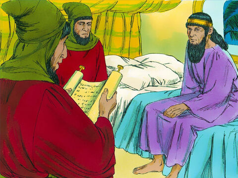 Chapter 6: That night the King could not sleep so he ordered the book of the chronicles of his reign to be brought in and read to him. When the King was read how Mordecai had exposed the plot to kill him, he asked, 'What honour was given to Mordecai for doing this?' – Slide 15