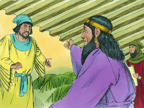 The attendants replied, 'Nothing has been done.' 'Who is in the royal court?' the King asked. 'Haman is standing in the court,' they replied. (He had come to ask for Mordecai to be executed by being impaled on the pole he had erected) 'Bring Haman in,' the king ordered. – Slide 16