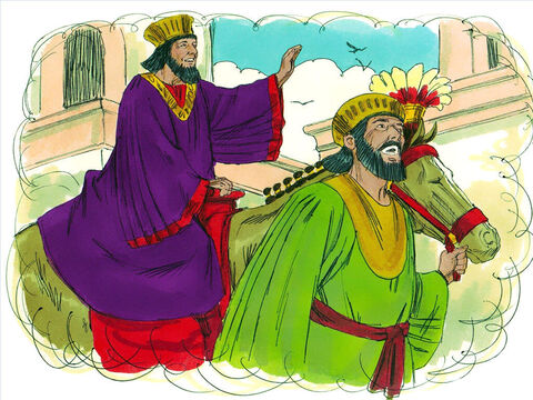 """'Then get the King's most noble prince to lead the horse through the city proclaiming, """"This is what is done for the man the King delights to honour!""""' – Slide 18"""