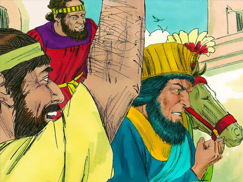 So Haman had to robe Mordecai, put him on a horse and lead him through the city proclaiming, 'This is what is done for the man the King honours!' – Slide 20