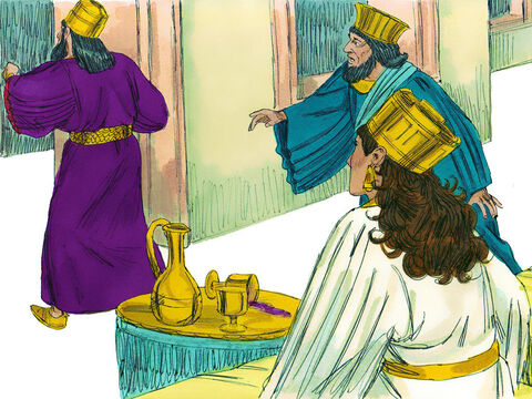 'An enemy,' replied Esther, 'This vile Haman.' Haman looked terrified. The King got up in a rage and went out into the palace garden. – Slide 3