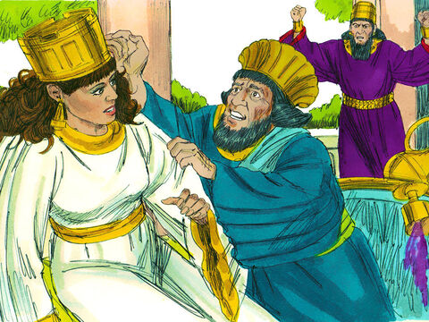 Haman started begging Esther to save his life. The King returned to find Haman falling on the couch where Esther was reclining. Guards were called to seize Haman. One of the King's attendants reported, 'Haman has erected a pole by his house. He was planning to impale Mordecai on it.' – Slide 4