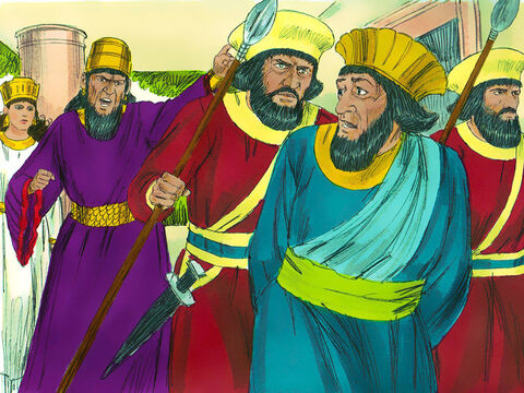 'Impale Haman on it,' the King ordered. Haman was led out to be executed. Then the King's fury subsided. – Slide 5