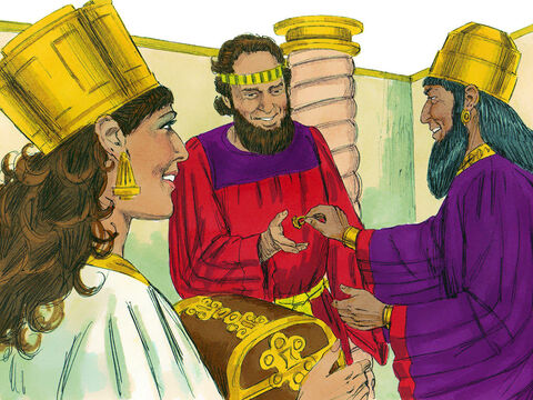 Chapter 8: That day the King gave Esther Haman's estate. Esther told the King she was related to Mordecai. The King gave Mordecai Haman's signet ring and Esther appointed him to look after Haman's riches and possessions. – Slide 6