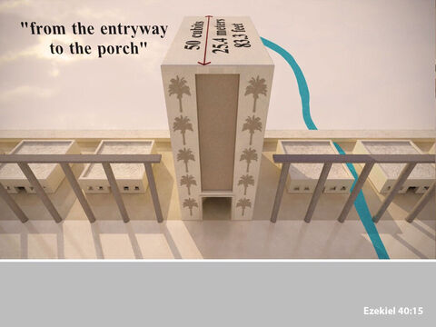 The distance from the entrance of the gateway to the far end of its portico was fifty cubits. – Slide 11
