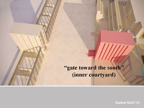 The 'man' took Ezekiel through the south gateway into the inner courtyard. He measured the gateway, and it was the same size as the gateways in the outer wall. – Slide 22