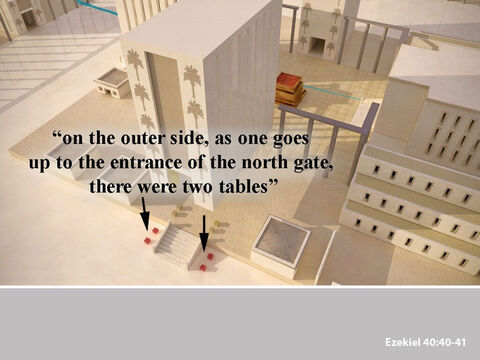 Outside the entry hall, on each side of the stairs going up to the north entrance, there were two more tables. So, in all there were eight tables, four inside and four outside, where the sacrifices were cut up and prepared. – Slide 27