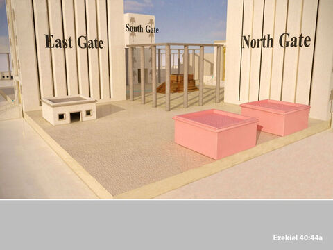 In the inner court there stood a building beside the northern entrance, facing south, for the priests who guarded the temple. – Slide 31