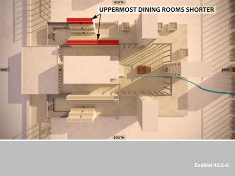 The upper two tiers of rooms were not as wide as the lower one, because the upper tiers had wider walkways beside them. – Slide 6