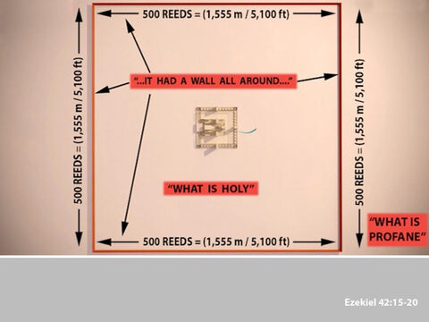It was 500 reeds square (KJV - note modern translations have this at 500 cubits). The surrounding wall separated the holy from the outside areas. – Slide 10