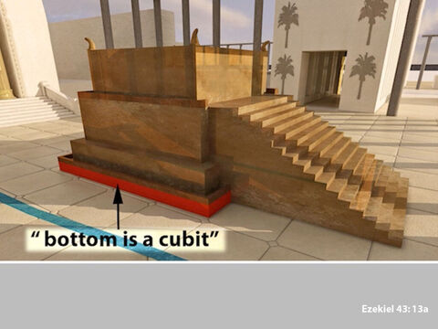 Ezekiel was then told that the altar would have a base of one cubit (these cubits were long cubits being a cubit plus the width of a hand). – Slide 6
