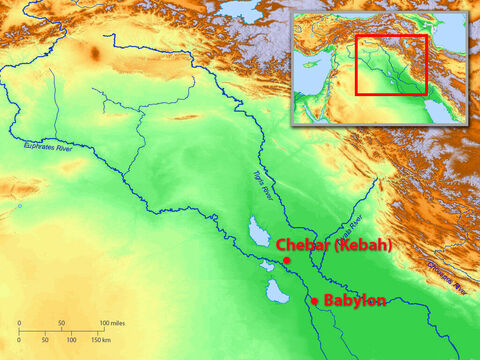 The captives were taken to Babylon where they lived as slaves by the River Chebar (Kebar). (Some think this was Chebar, north of Babylon. Others think it was the Grand Canal in Babylon, which branched off from the Euphrates River). – Slide 2