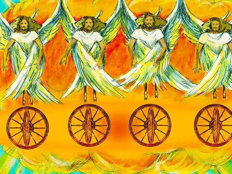 As Ekekiel looked, he noticed wheels the colour of beryl beside each one. There was a wheel within each wheel so they could move in any direction and the wheel rims were full of eyes. Wherever the creatures went, the wheels went with them because the spirit of the creatures was in the wheels. The noise of their wings was like the sound of thundering waters or a mighty army. – Slide 6