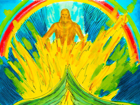 Above the four creatures was a space of awesome crystal and a throne of sapphire. On the throne was Someone with the appearance of a man. His lower half was like fire and His top half was the colour of amber and fire with bright colour all around like a rainbow. – Slide 7