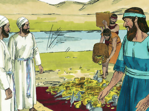Ezra chose 12 of the leading priests and weighed out the gold, silver and articles the King had given for the Temple in Jerusalem. He asked them to be responsible and guard 850 talents (29 metric tonnes) of treasures worth a fortune. – Slide 5