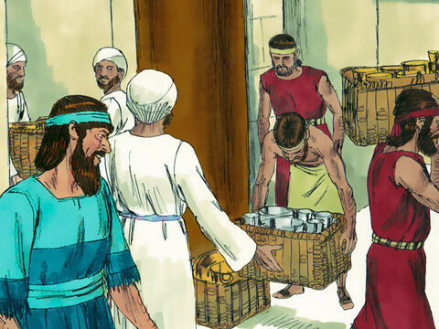 On the fourth day the gold and silver was weighed again and entrusted to a priest called Meremoth. It was all accounted for. Nothing had been lost or stolen. Everyone then sacrificed burnt offerings to God. – Slide 10