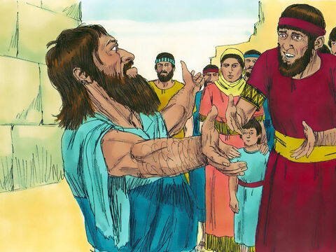 While Ezra was praying, confessing, weeping and throwing himself down before the Temple, a large crowd of Jewsgathered round him and wept bitterly. One of them, Shekaniah, announced, 'We have been unfaithful to our God by marrying foreign women who do not worship God. Let us promise to send these women and their children away according to God's law.' – Slide 14