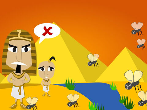 Next God sent lots of small insects called gnats to cover the land like dust. Even Pharaoh's magicians knew only God had the power to do this. But Pharaoh still refused to let the Hebrew slaves go. – Slide 10