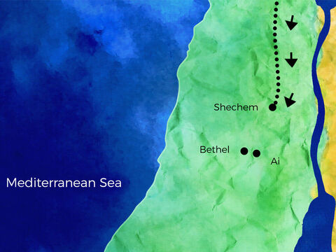 They traveled to Shechem, a very busy city. <br/>They visited the shops and met other people. <br/>Then Abram trekked through the hills so pretty. He stopped at the tree of Moreh, away from the townspeople. – Slide 2