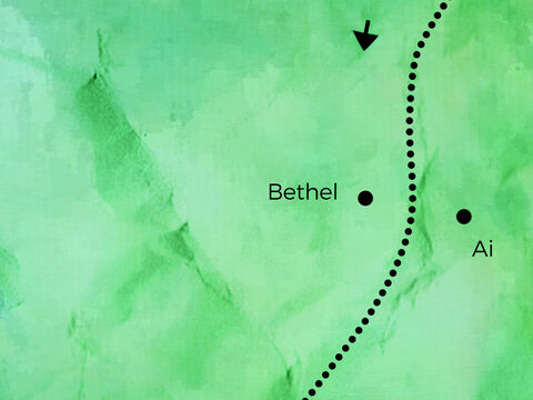 Abram, Sarai, and Lot traveled down the countryside. <br/>They stopped for a while on the west of Ai. <br/>Then they traveled towards Bethel's eastern hills.  <br/>Abram wanted God's blessing and followed God's will. – Slide 4