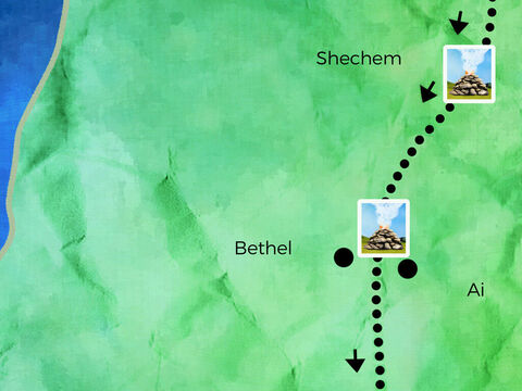 Abram built two altars to worship God. One by the tree of Moreh, and one in Bethel's east hills. <br/>Through Canaan Abram, Sarai, and Lot once more trod to the desert of Negev following God's will. – Slide 6