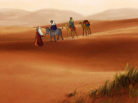 Abram, Sarai, and Lot followed God's command. Through the Negev desert they traveled around. <br/>But, there was a great famine in the land. Food was scarce and the plants died in the ground. – Slide 1