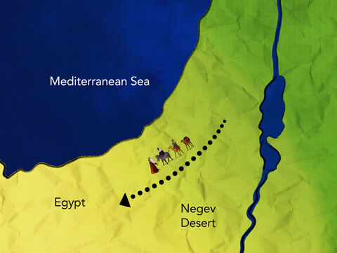 They left their own land against God's command. <br/>To Egypt they were bound, where food could be found. – Slide 2