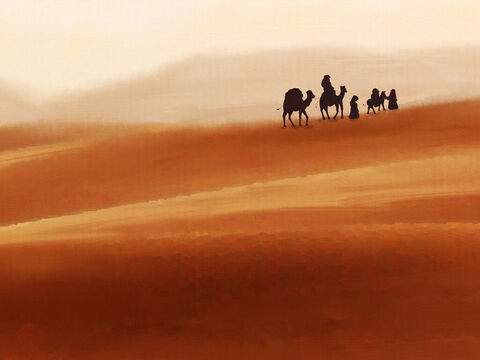 Abram, Sarai, and Lot left Egypt with all their goods. Hagar the slave joined their caravan. <br/>They carried with them all that they could and travelled back to their own land. – Slide 6