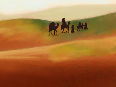 The Pharaoh of Egypt threw Abram and Sarai out!  <br/>With Lot and Hagar they traveled about. <br/>Through the Negev Desert they did roam, where they settled and made their home. – Slide 1