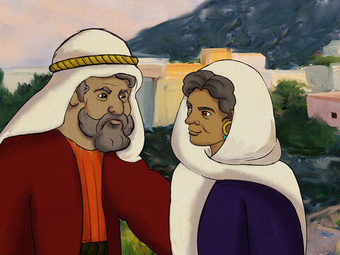 In the city of Haran, in a very nice house, lived a very old man with his very old spouse. <br/>Abram and Sarai were their names. They lived with their family and got along with everyone, but they didn't have children and wanted a son. – Slide 1
