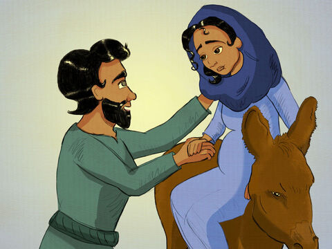 When it was time for Jesus' birth there was so much that had to be done. <br/>Everyone had to register and travel to their home town. <br/>To Bethlehem, Joseph and Mary must go. <br/>Joseph packed the donkey and carried Mary in tow. – Slide 4