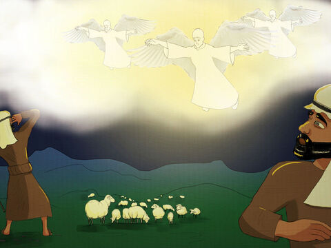 Angels filled the sky over the hills. <br/>The shepherds were terrified and stood very still. <br/>'Go find the Baby that was born this night. <br/>'He will bring the world goodness and light! <br/>'Glory to God in the Highest!' the angels did sing. <br/>'Peace on earth! Goodwill to all men! That's what God brings!' – Slide 7
