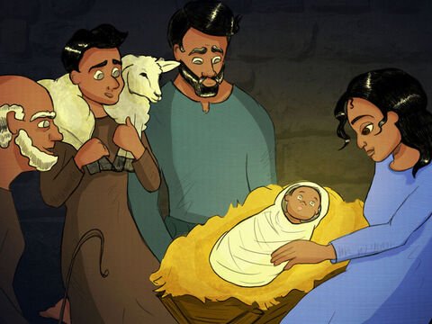 The shepherds ran down from the hills. <br/>They saw baby Jesus and stood very still. <br/>They worshipped and bowed down, and told everyone in town. <br/>Goodwill and peace on earth is what God brings. <br/>Born this day is God's Son, the newborn King. – Slide 8