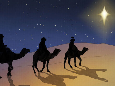 In the sky appeared a bright star, seen by the wise men who lived very far. <br/>The meaning of this special star was clear. <br/>The newborn King has arrived, He is here. <br/>They packed up their riches and camels and travelled. – Slide 9
