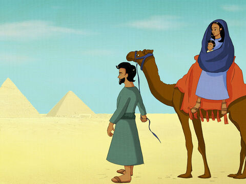 To Egypt, Joseph and Mary and Jesus must go. <br/>Joseph packed the camel with Mary and Jesus in tow. <br/>God would keep His promise to save the world from their sin. <br/>Jesus would bring people back to God again. – Slide 15