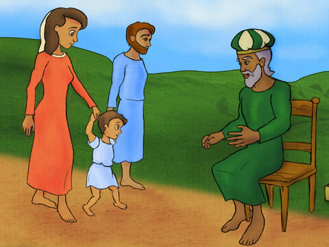 When Samuel was a toddler, Hannah and Elkanah took him to the feast. <br/>They thanked God for their baby with sacrifices and left Samuel to live with the priest. – Slide 8