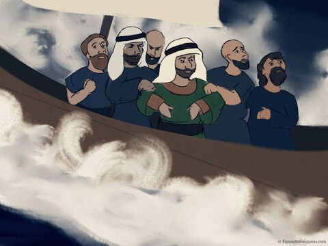 Terrified, the sailors cried, 'One True God, have mercy on us for throwing this man overboard!' <br/>They tossed Jonah overboard. – Slide 20