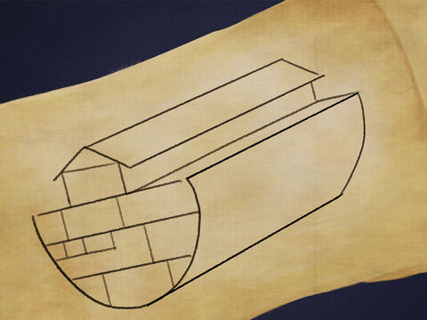 Noah had to build an Ark to be very long and very wide. <br/>He needed long wooden planks and tar to cover the sides. – Slide 1