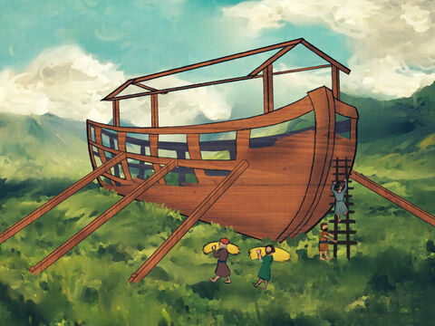 The Ark must carry all the supplies, the food, the straw and hay. <br/>The Ark must carry the furniture and beds where the people lay. – Slide 3