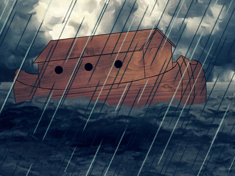 The clouds clashed and rain poured on the earth for forty days and nights. The ark floated on the high waters. <br/>Finally, the rain stopped and the sky became bright, but the ark kept floating on the high waters. – Slide 1