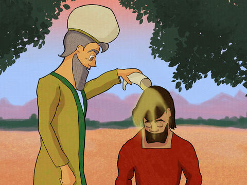Samuel said,'God wants me to tell you He chose you to be king.' <br/> So he poured oil on Saul's head to anoint him with God's blessing. – Slide 2