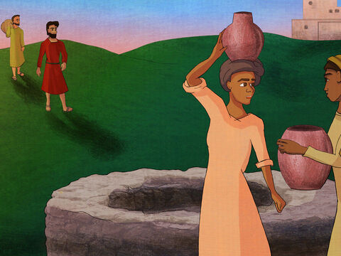 """So they looked for a while and saw some girls at a well. <br/>Saul asked, """"Is the prophet nearby?"""" <br/>'Yes, he is', the girls replied. <br/>'He is in the town for the sacrifice and the people are waiting. <br/>He will feast with the people and give us God's blessing.' – Slide 5"""