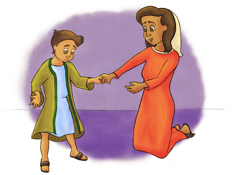 When his mother, Hannah, came to visit, they always brought Samuel a brand new robe. <br/>When Samuel worshipped God with Eli in the temple, Samuel always wore his little robe. – Slide 3