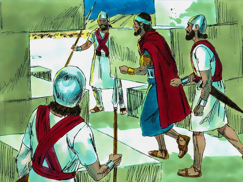 Finally the Babylonians broke down a section of the city walls. That night , King Zedekiah and many of his soldiers escaped out of the city and slipped through enemy lines in the darkness. – Slide 8