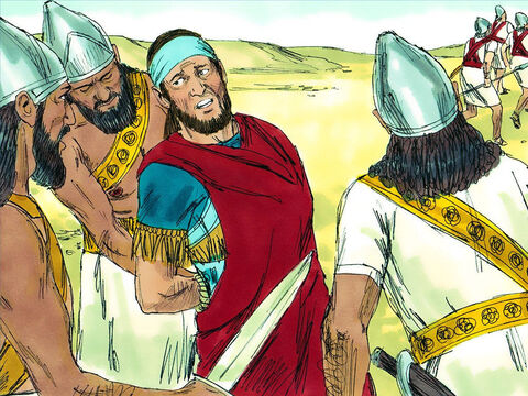 But the Babylonians gave chase and caught up with them in the Jordan valley. King Zedekiah was captured near Jericho. And his men deserted him and ran away. – Slide 9
