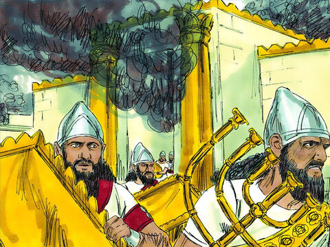 The Babylonians entered the city. They raided the Temple and took all items made of gold, silver and bronze. They looted the homes. Then they set fire to the Temple, the palace and other fine buildings. – Slide 11